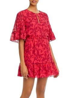 Joie Tersea Silk-Blend Embroidered Ruffled Mini Dress