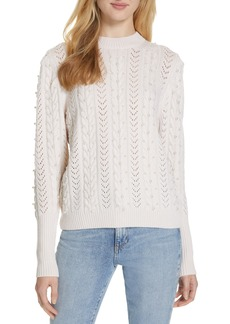 Joie Tinala Faux Pearl Detail Cable Sweater