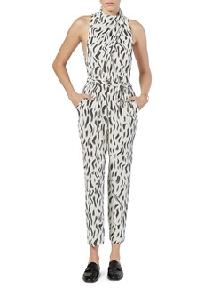 Joie Toulouse Abstract Print Sleeveless Silk Jumpsuit