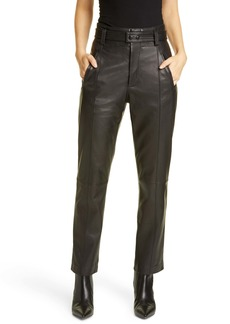 Joie Trula Belted High Waist Leather Pants