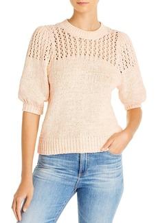 Joie Una Open-Knit Puff-Sleeve Sweater