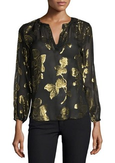 Joie Vashti Metallic-Leaf Split-Neck Blouse