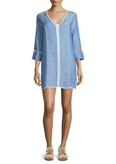 Joie Warby Washed Denim Contrast-Stitch Dress