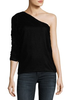 Joie Wayman One-Shoulder Velvet Top