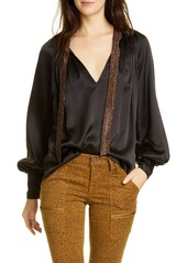 Joie Wenya Sash Detail Silk Satin Top