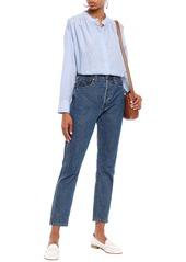 Joie Woman Abidan Gathered Fil Coupé Cotton Shirt Light Blue