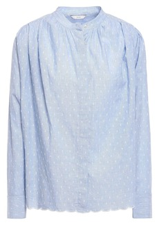 Joie Woman Abidan Gathered Fil Coupé Cotton Shirt Light Blue