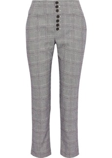 Joie Woman Abony Cropped Prince Of Wales Checked Jacquard Tapered Pants Gray