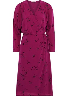 Joie Woman Acantha B Floral-print Crepe De Chine Wrap Dress Violet
