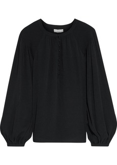 Joie Woman Addalla Shirred Crepe Blouse Black