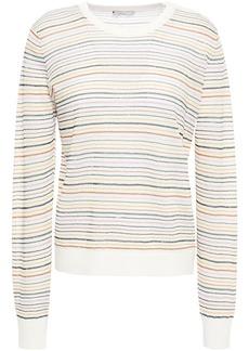 Joie Woman Ade Metallic Striped Linen-blend Sweater Off-white