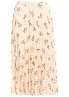 Joie Woman Adeena Pleated Floral-print Crepe De Chine Midi Skirt Peach