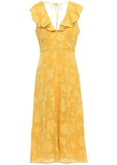 Joie Woman Adella Ruffle-trimmed Fil Coupé Georgette Midi Dress Marigold