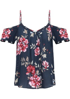 Joie Woman Adorlee Cold-shoulder Floral-print Silk-crepe Top Navy