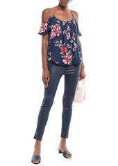 Joie Woman Adorlee Cold-shoulder Floral-print Silk-crepe Top Navy