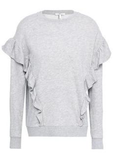 Joie Woman Agnia Ruffle-trimmed French Cotton-blend Terry Sweatshirt Light Gray