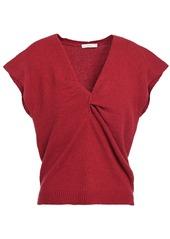 Joie Woman Alenah Twist-front Cotton-blend Top Crimson