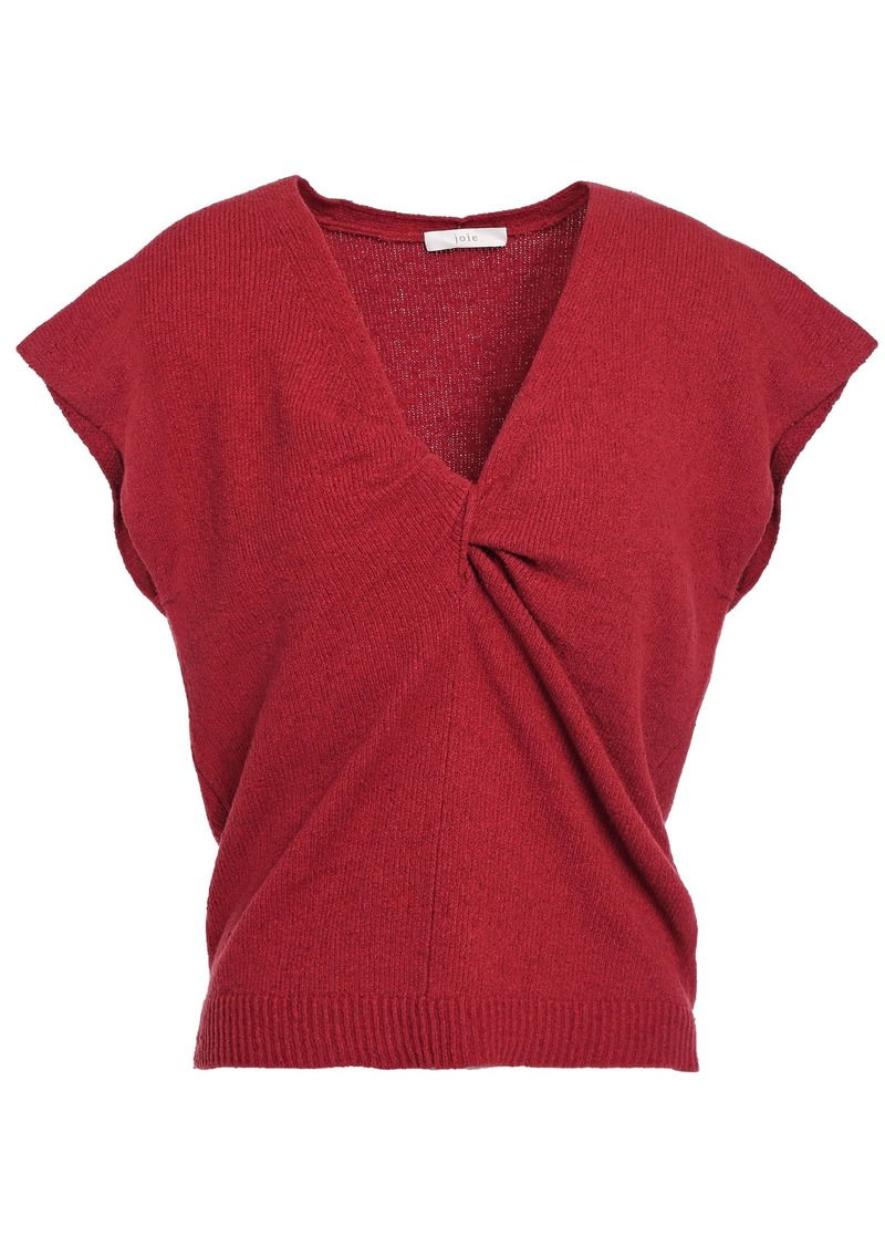 Joie Woman Alenah Twist-front Cotton-blend Top Crimson