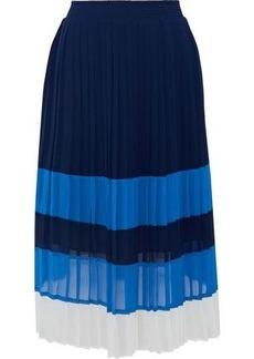 Joie Woman Alpons Pleated Color-block Chiffon Skirt Navy
