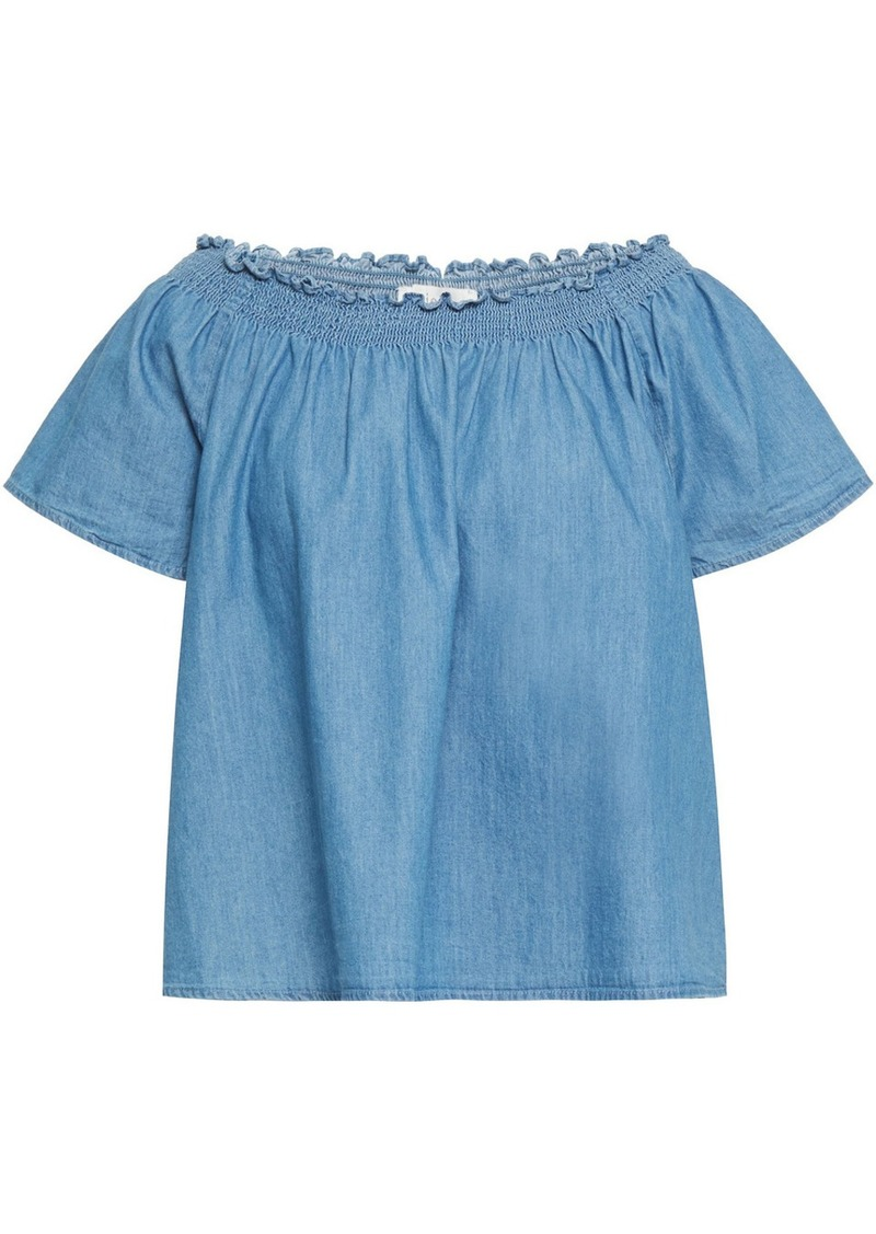 Joie Woman Amesti B Off-the-shoulder Shirred Cotton-chambray Top Mid Denim