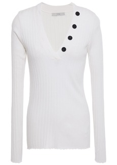Joie Woman Anastasia Button-embellished Ribbed-knit Sweater White
