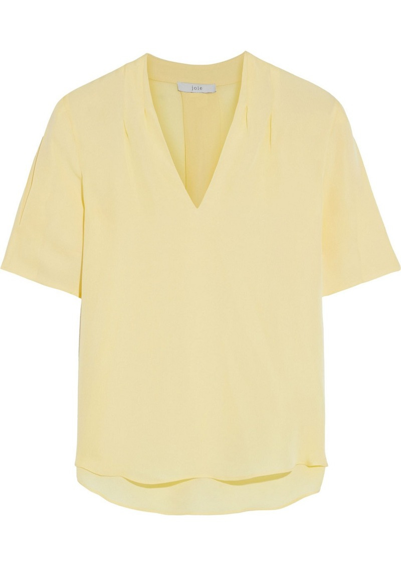 Joie Woman Ance Pleated Silk Crepe De Chine Top Pastel Yellow