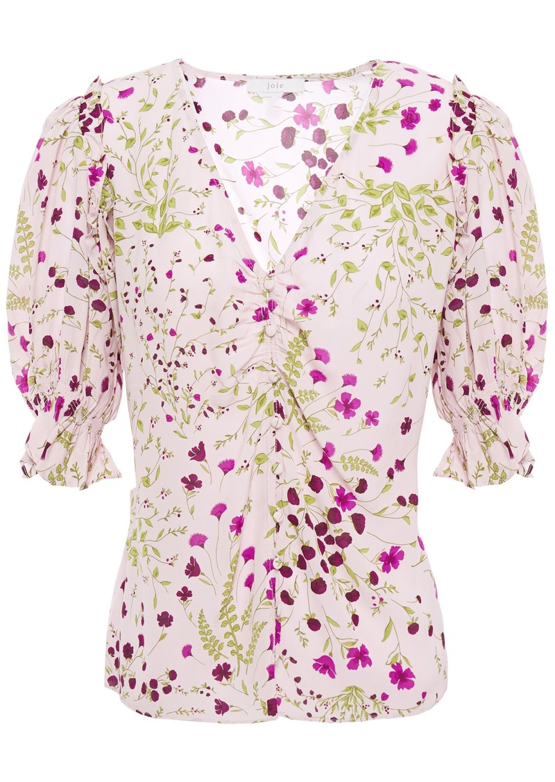 Joie Woman Anevy Ruffle-trimmed Floral-print Crepe Blouse Lilac