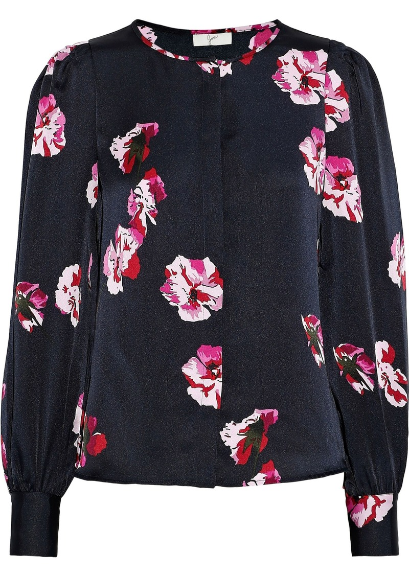Joie Woman Antonela Gathered Floral-print Satin Blouse Midnight Blue