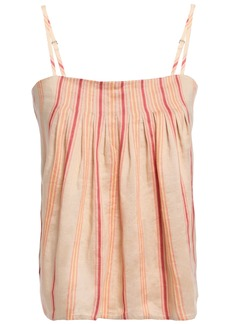 Joie Woman Ariza Pintucked Striped Linen-blend Camisole Beige