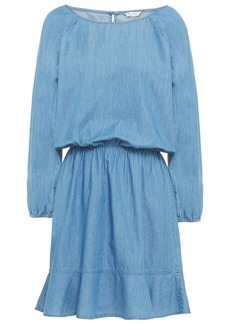Joie Woman Arryn B Fluted Cotton-chambray Mini Dress Mid Denim