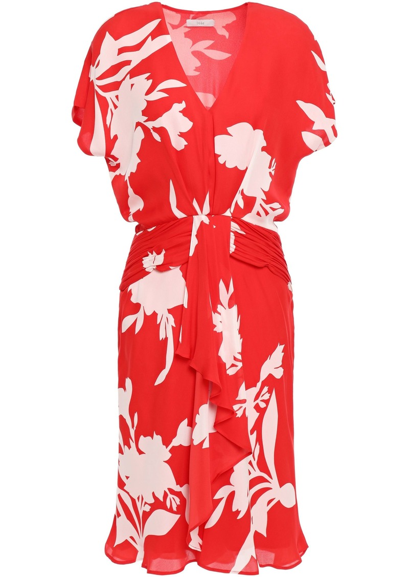 Joie Woman Ashleena Draped Floral-print Silk-chiffon Mini Dress Tomato Red