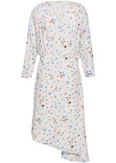 Joie Woman Asymmetric Printed Crepe De Chine Dress White