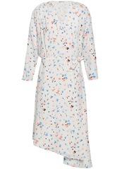 Joie Woman Asymmetric Printed Crepe De Chine Wrap Dress White