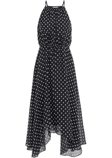 Joie Woman Asymmetric Printed Silk-seersucker Midi Dress Black