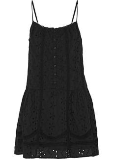 Joie Woman Austen Crochet-trimmed Broderie Anglaise Cotton Mini Dress Black