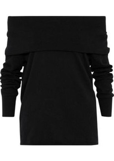 Joie Woman Bade Off-the-shoulder Cotton And Cashmere-blend Sweater Black