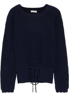 Joie Woman Balere Lace-up Cotton Sweater Midnight Blue