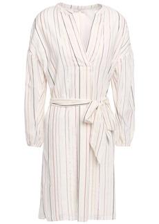 Joie Woman Belted Metallic Striped Cotton-blend Gauze Mini Dress White
