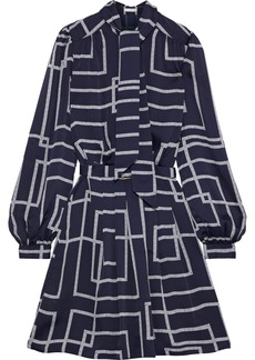 Joie Woman Belted Printed Crepe De Chine Mini Dress Navy