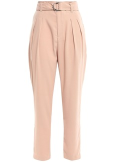 Joie Woman Belted Satin-crepe Tapered Pants Blush