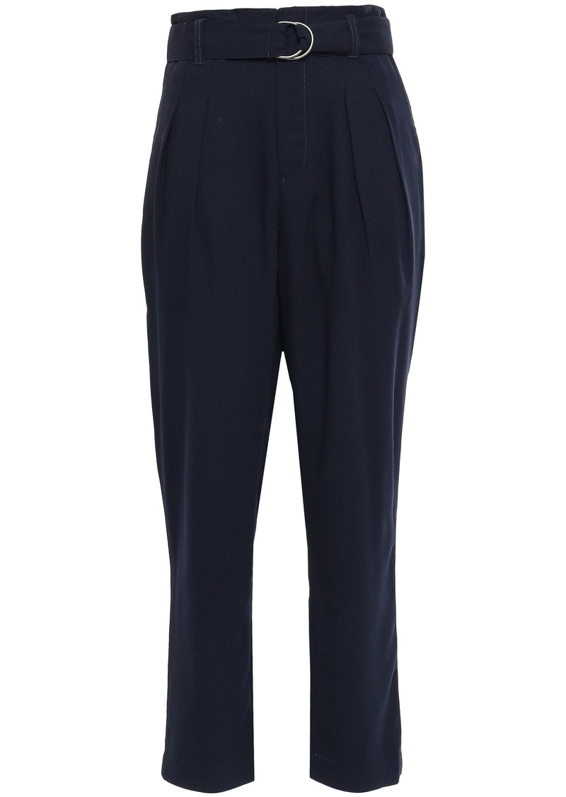 Joie Woman Belted Satin-crepe Tapered Pants Navy