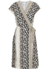 Joie Woman Bethwyn C Snake-print Crepe De Chine Wrap Dress Light Brown