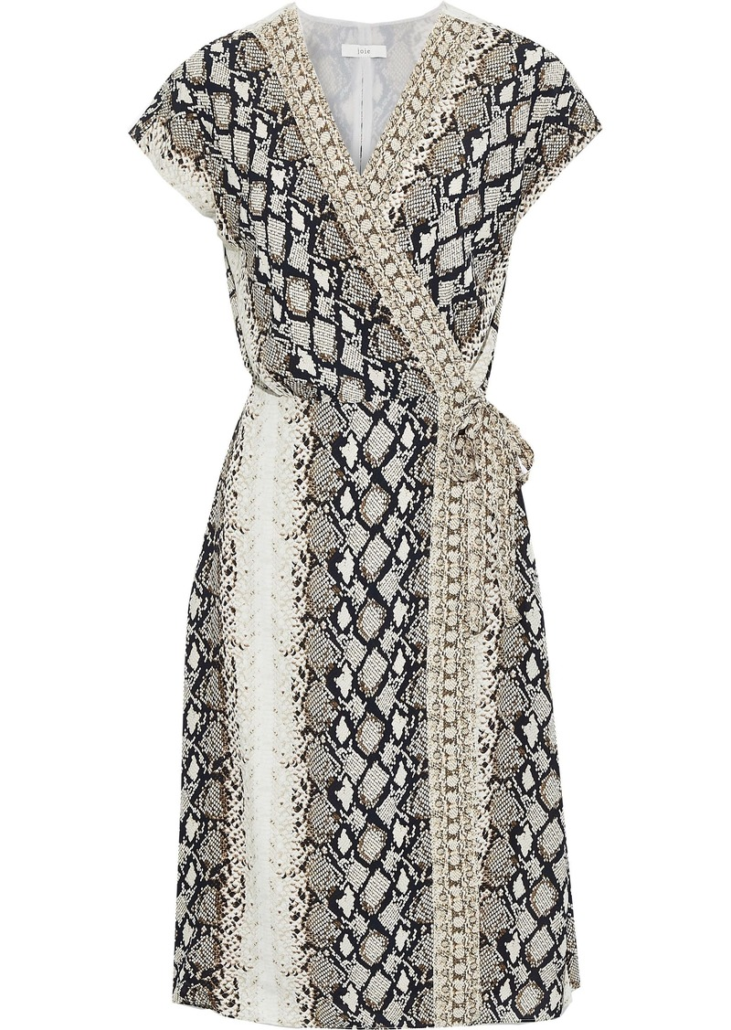 Joie Woman Bethwyn C Snake-print Crepe De Chine Wrap Dress White
