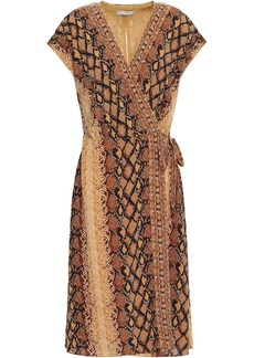 Joie Woman Bethwyn C Snake-print Crepe De Chine Wrap Dress Light Brown