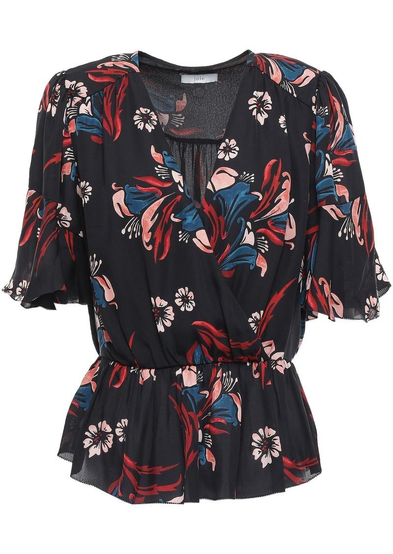 Joie Woman Bisma Wrap-effect Floral-print Silk Crepe De Chine Peplum Blouse Black