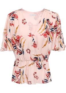 Joie Woman Bisma Wrap-effect Floral-print Silk Crepe De Chine Peplum Blouse Pastel Pink