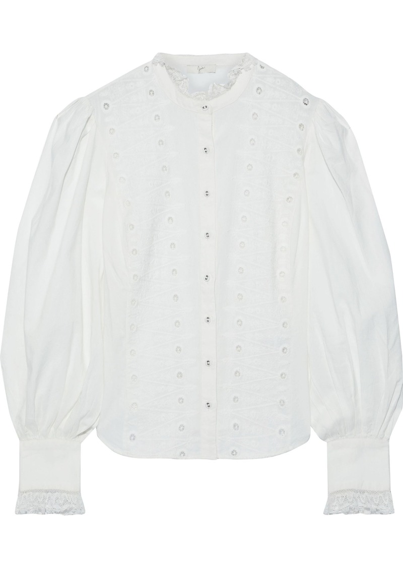 Joie Woman Bobette Lace-trimmed Broderie Anglaise Cotton-blend Blouse White