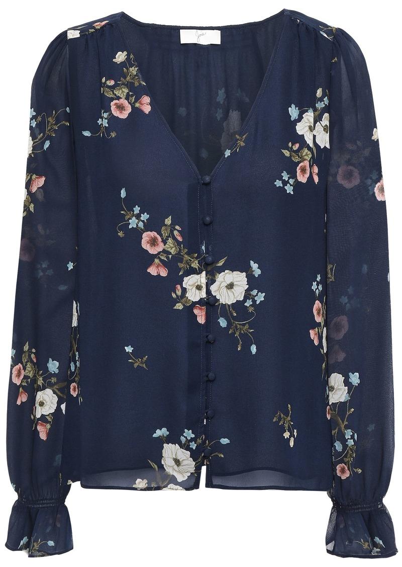 Joie Woman Bolona C Floral-print Silk-georgette Blouse Navy