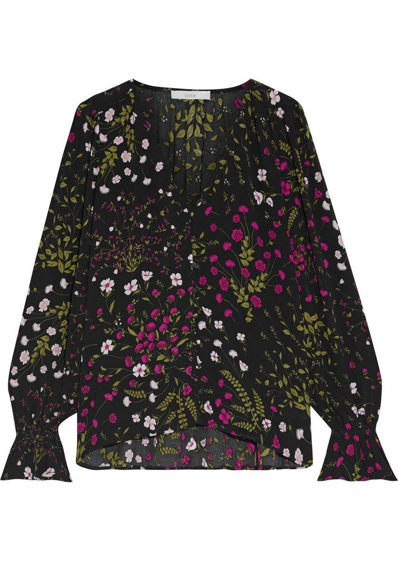 Joie Woman Bolona Floral-print Crepe De Chine Top Black