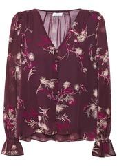 Joie Woman Bolona Floral-print Silk-chiffon Shirt Plum